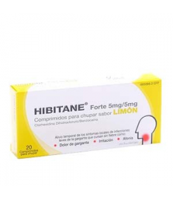 HIBITANE FORTE 5mg/5mg 20comp para chupar sabor limón