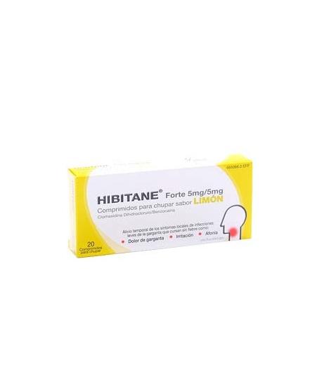 HIBITANE FORTE 5mg/5mg 20comp para chupar sabor limón Dolor de garganta