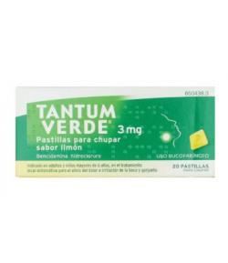 TANTUM VERDE 3 mg 20past para chupar sabor limón