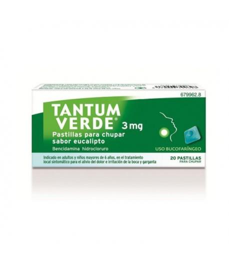 TANTUM VERDE 3 mg 20past para chupar sabor eucalipto Dolor de garganta