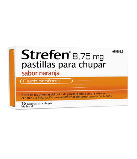 STREFEN 8,75 mg 16past sabor naranja Dolor de garganta